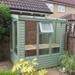 Greenhouse with internal shelving fitted